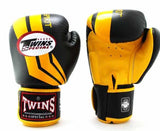 Twins Fighting Spirit Boxing Gloves- Yellow Black - Premium Leather