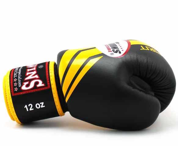 Twins Yellow-Black Signature Boxing Gloves - Velcro Wrist - Image 3