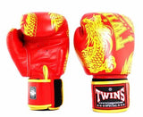 Twins Gold-Red Signature Boxing Gloves - Velcro Wrist - Image 1