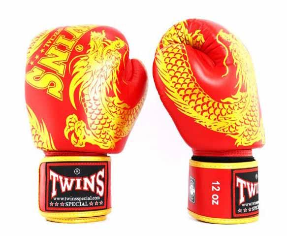 Twins Gold-Red Signature Boxing Gloves - Velcro Wrist - Image 2
