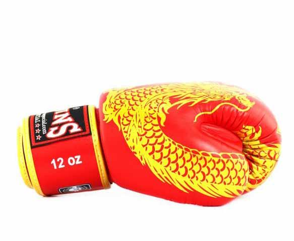 Twins Gold-Red Signature Boxing Gloves - Velcro Wrist - Image 3