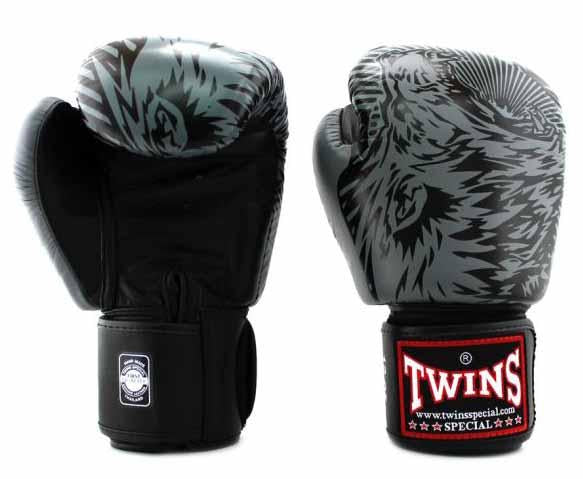 Twins Grey Signature Boxing Gloves - Velcro Wrist