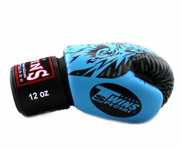Twins Light Blue Signature Boxing Gloves - Velcro Wrist