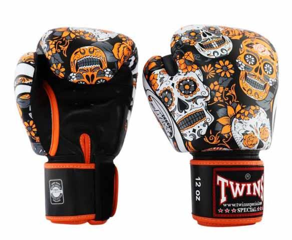 Orange De Los Muertes Twins Boxing Gloves - Velcro Wrist