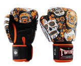 Orange De Los Muertes Twins Boxing Gloves - Velcro Wrist - Image 2
