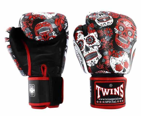 Red De Los Muertes Twins Boxing Gloves - Velcro Wrist
