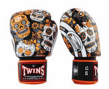 Orange De Los Muertes Twins Boxing Gloves - Velcro Wrist - Image 1