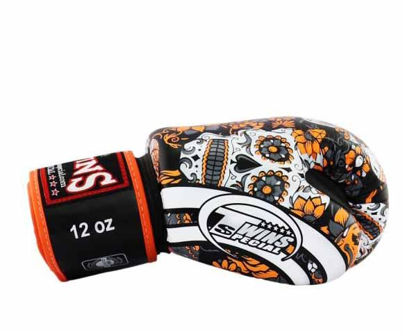 Orange De Los Muertes Twins Boxing Gloves - Velcro Wrist - Image 3