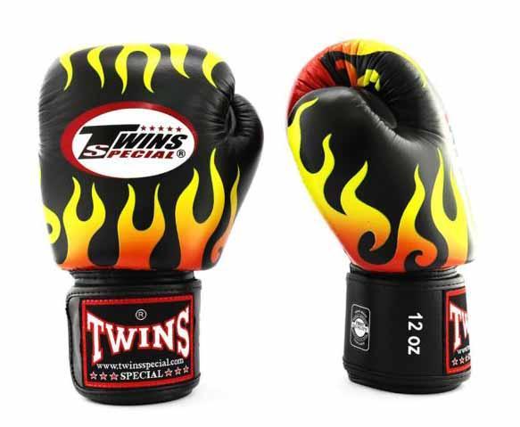 Twins Black Signature Boxing Gloves - Velcro Wrist - Image 2