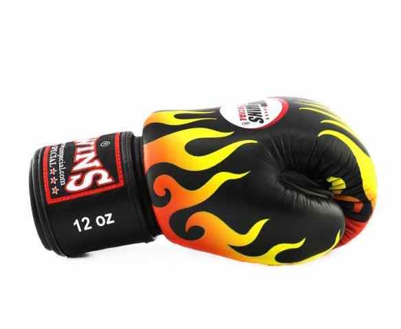 Twins Black Signature Boxing Gloves - Velcro Wrist - Image 3