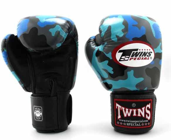 Twins Blue Camo Boxing Gloves - Velcro Wrist - Image 2