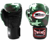Twins Green Camo Boxing Gloves - Velcro Wrist