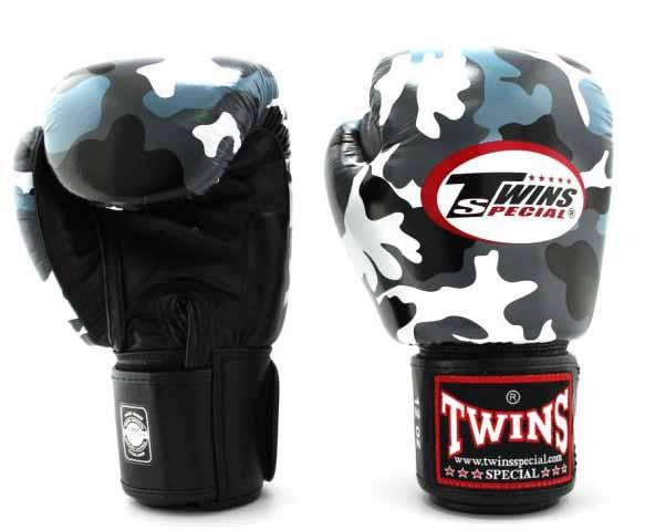 Twins Grey Camo Boxing Gloves - Velcro Wrist - Image 2