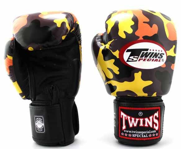Twins Orange Camo Boxing Gloves - Velcro Wrist - Image 2