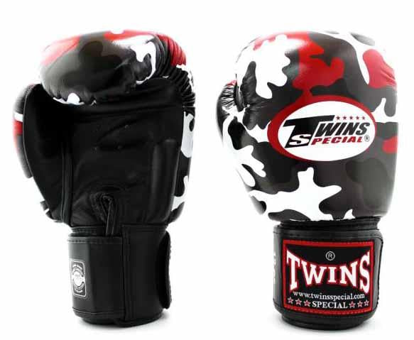 Twins Red Camo Boxing Gloves - Velcro Wrist - Image 2