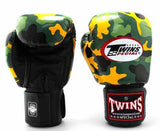 Twins Yellow Camo Boxing Gloves - Velcro Wrist - Image 2