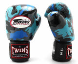 Twins Blue Camo Boxing Gloves - Velcro Wrist - Image 1