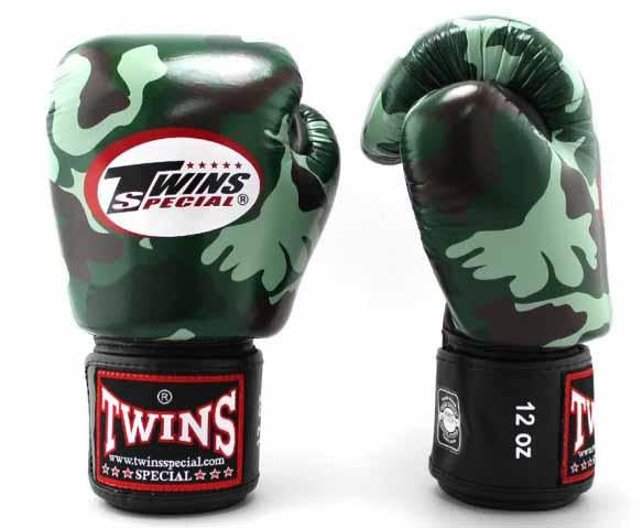 Twins Green Camo Boxing Gloves - Velcro Wrist - Image 1