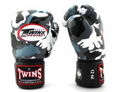 Twins Grey Camo Boxing Gloves - Velcro Wrist - Image 1