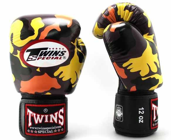 Twins Orange Camo Boxing Gloves - Velcro Wrist - Image 1