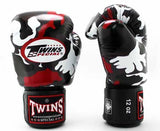 Twins Red Camo Boxing Gloves - Velcro Wrist - Image 1