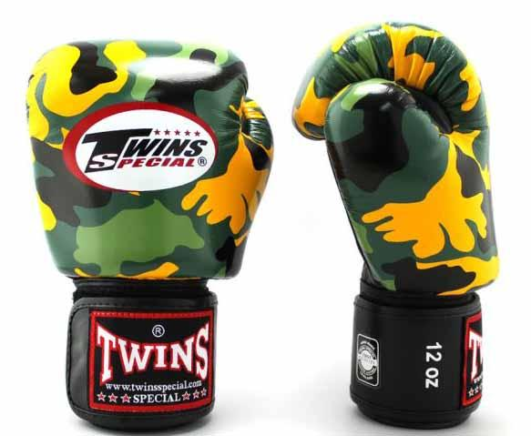 Twins Yellow Camo Boxing Gloves - Velcro Wrist - Image 1