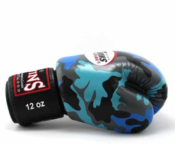 Twins Blue Camo Boxing Gloves - Velcro Wrist - Image 3
