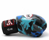 Twins Blue Camo Boxing Gloves - Velcro Wrist