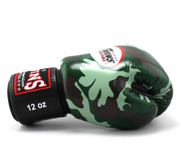Twins Green Camo Boxing Gloves - Velcro Wrist - Image 3