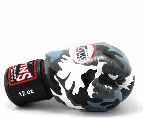 Twins Grey Camo Boxing Gloves - Velcro Wrist