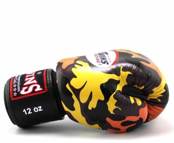 Twins Orange Camo Boxing Gloves - Velcro Wrist - Image 3