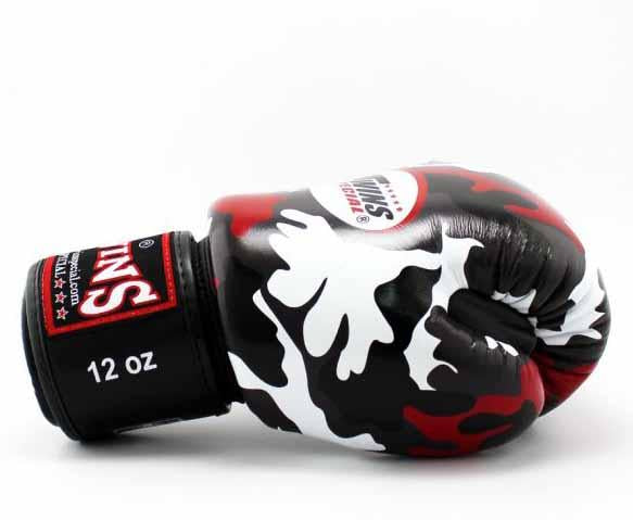 Twins Red Camo Boxing Gloves - Velcro Wrist - Image 3
