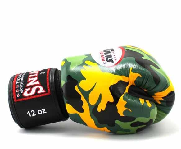 Twins Yellow Camo Boxing Gloves - Velcro Wrist - Image 3