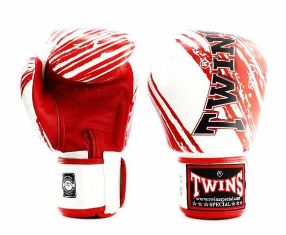 Twins Red-White Signature Boxing Gloves - Velcro Wrist - Image 1