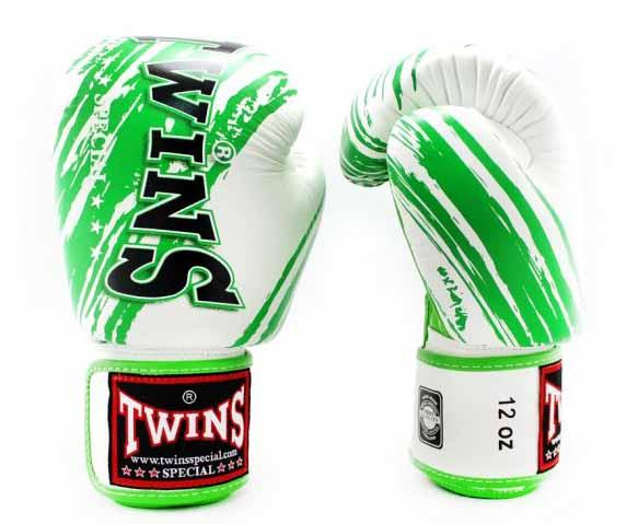 Twins Green-White Signature Boxing Gloves - Velcro Wrist