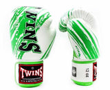 Twins Green-White Signature Boxing Gloves - Velcro Wrist - Image 2
