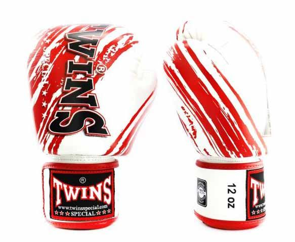 Twins Red-White Signature Boxing Gloves - Velcro Wrist - Image 2