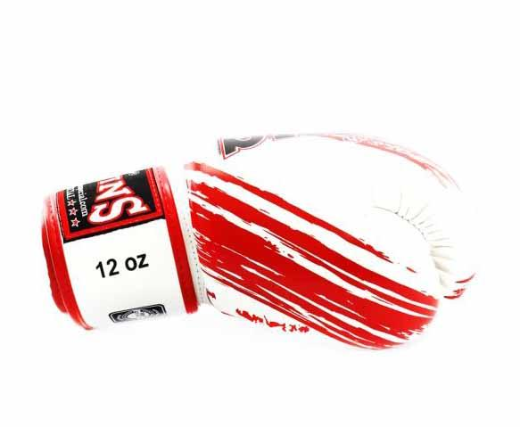Twins Red-White Signature Boxing Gloves - Velcro Wrist - Image 3