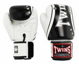 Twins Black-White Signature Boxing Gloves - Velcro Wrist - Image 1