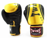 Twins Gold-Black Signature Boxing Gloves - Velcro Wrist - Image 1
