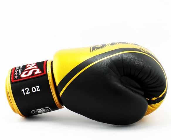 Twins Gold-Black Signature Boxing Gloves - Velcro Wrist - Image 3
