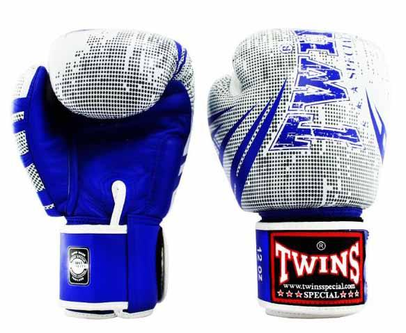 Twins Blue-White Signature Boxing Gloves - Velcro Wrist