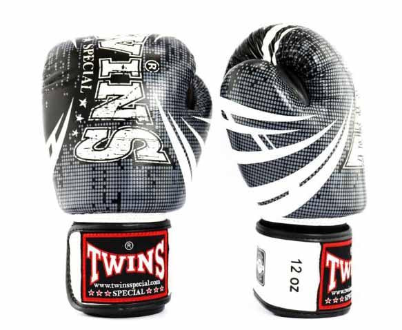 Twins White-Black Signature Boxing Gloves - Velcro Wrist
