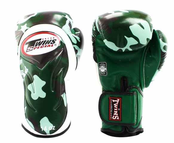 Twins Green Signature Boxing Gloves - Velcro Wrist - Image 1