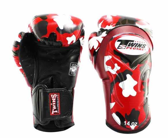 Twins Red Signature Boxing Gloves - Velcro Wrist - Image 1
