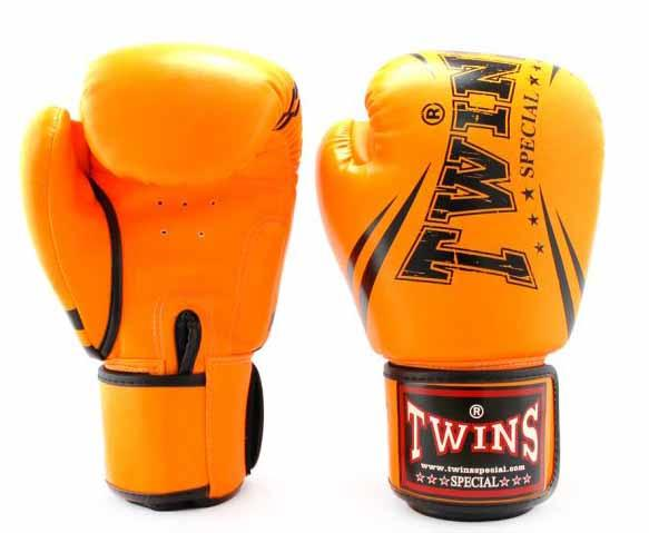 Twins Orange Signature Boxing Gloves - Velcro Wrist
