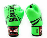 Twins Green Signature Boxing Gloves - Velcro Wrist