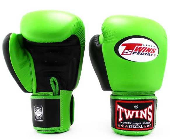 Twins Black-Green Dual Color Boxing Gloves - Velcro Wrist - Image 2