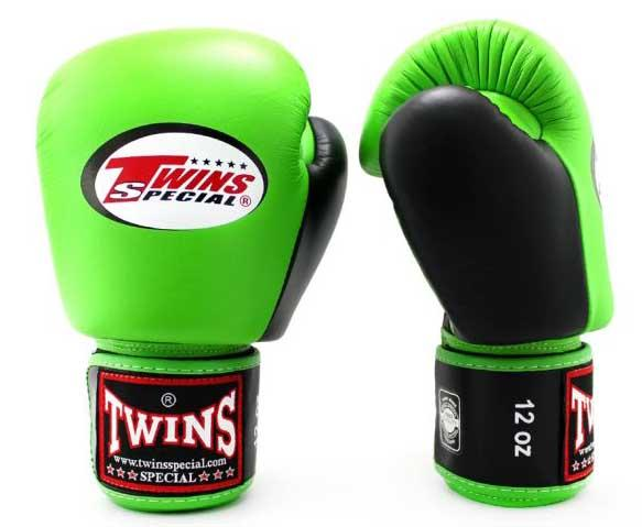 Twins Black-Green Dual Color Boxing Gloves - Velcro Wrist - Image 1