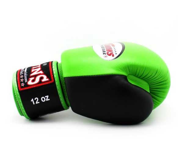 Twins Black-Green Dual Color Boxing Gloves - Velcro Wrist - Image 3
